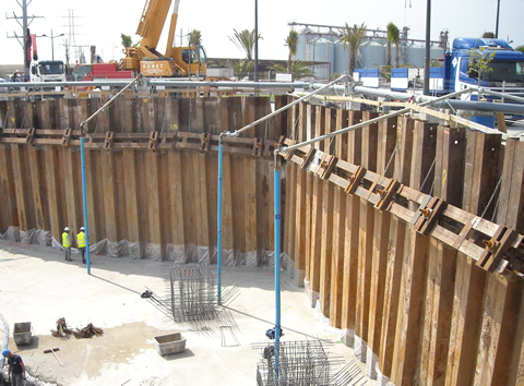 Braced sheet piling walls with ground anchors