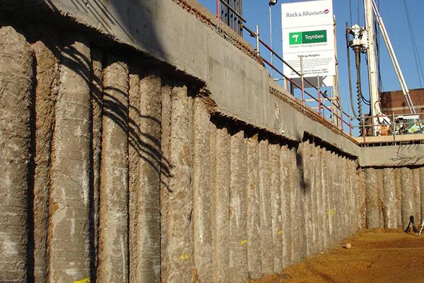 Retaining Wall Sheet Piling Construction Parking