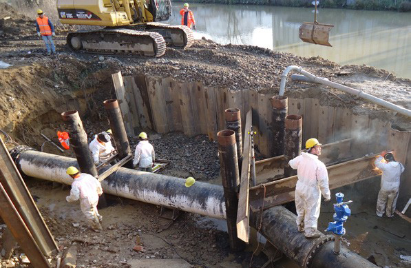 Sheet piling construction dewatering